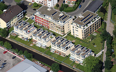 Lörrach, Solarvillen am Parkschwimmbad, 2 MFH und 12 RH